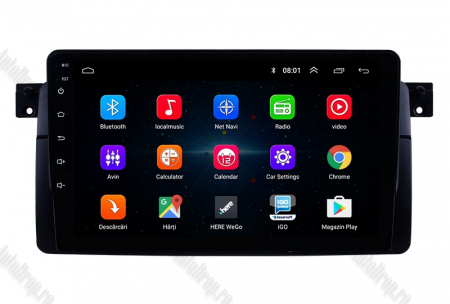 Navigatie BMW E46, Android 8.1, QUADCORE|MTK| / 2GB RAM + 32 ROM, 9 Inch - AD-BGPBMWE469H1