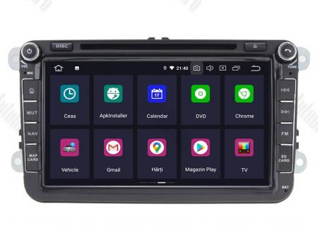 Navigatie Volkswagen, Skoda, Seat, Android 10, QUADCORE|PX30| / 2GB RAM + 16 ROM cu DVD, 8 Inch - AD-BGWVW8P32