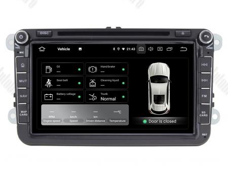 Navigatie Volkswagen, Skoda, Seat, Android 10, QUADCORE|PX30| / 2GB RAM + 16 ROM cu DVD, 8 Inch - AD-BGWVW8P38