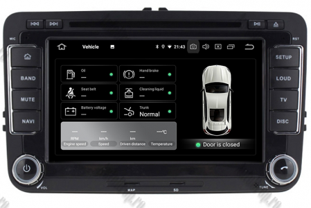 Navigatie Volkswagen, Skoda, Seat, Android 10, Quadcore|PX30| / 2GBRAM + 16GB ROM cu DVD, 7 Inch - AD-BGWVW7P311