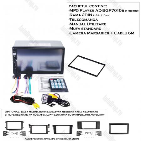 [OFERTA] MP5 Player DVD 2DIN Universal, WinCE, Bluetooth, USB, CardSD, Auxiliar, Mirrorlink, Touchscreen - AD-BGP7010b1