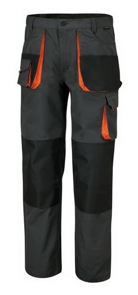 Pantaloni mecanic gri insertii portocalii cu buzunare speciale [0]