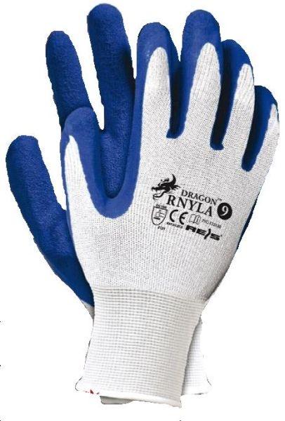 Set 12 manusi protectie albastre marimea L acoperite latex rezistente 0