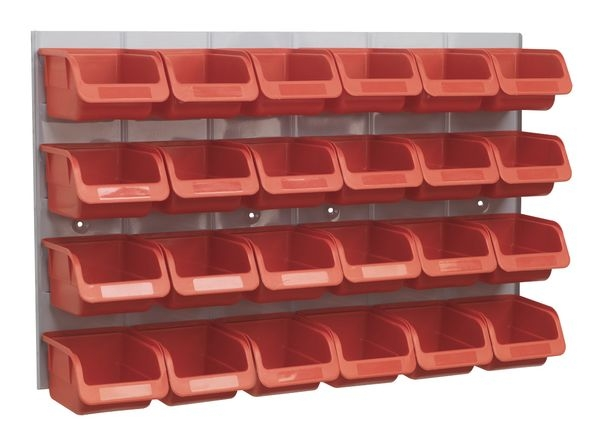 Recipient depozitare container cu panou perete 24 cutii rosu 0