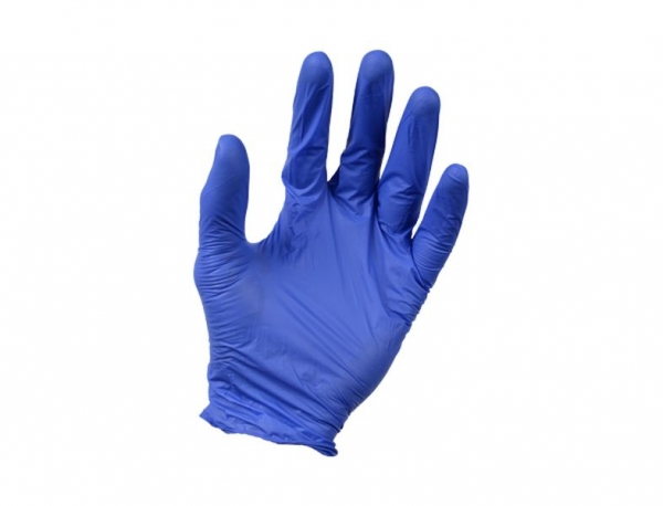Set 100 manusi cu textura nitril fara pulbere albastre rezistente solventi si benzine marimea M [0]