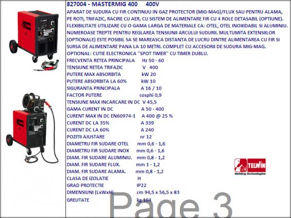 Aparat sudura trifazic MIG-MAG MASTERMIG 400, 230-400V [0]
