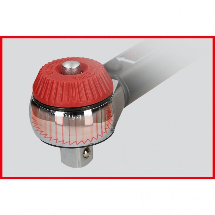 Cheie dinamometrica cu clichet 1/2 ERGOTORQUE precision cu buton rotativ 40-200nm 10