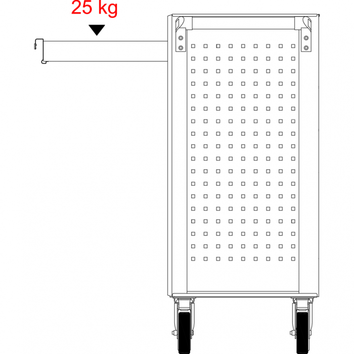 Cărucior de atelier gol ECOline NEGRU/ROȘU cu 7 sertare [19]