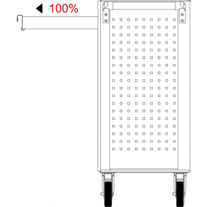 Cărucior de atelier gol ECOline NEGRU/ROȘU cu 7 sertare [20]