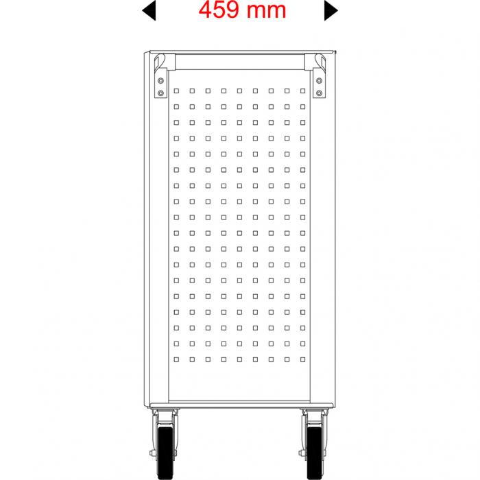 Cărucior de atelier gol ECOline NEGRU/ROȘU cu 7 sertare [16]