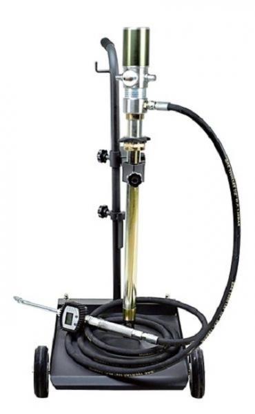 Distribuitor ulei cu carucior 50-60 litri pompa pneumatica transfer raport 3:1 pistol display cantitate furtun 4 m 0