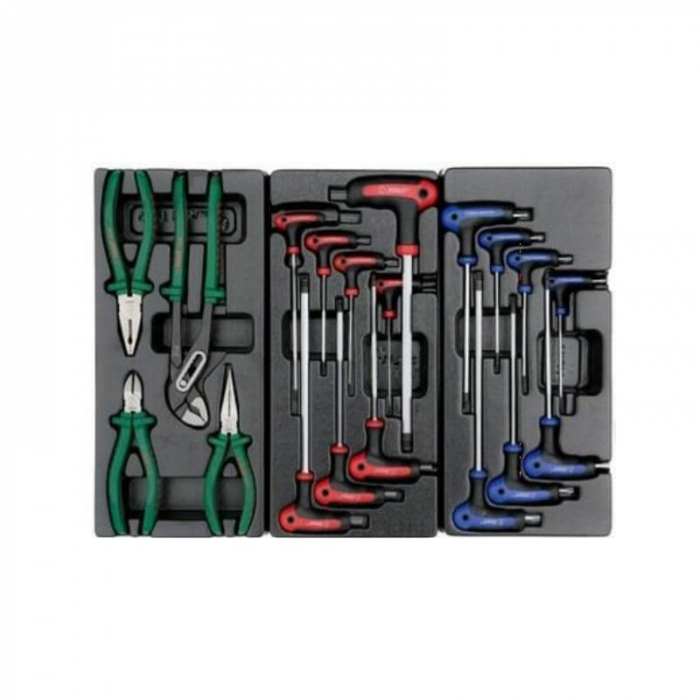 Dulap scule HANS echipat cu 202 piese, rosu/verde 8 sertare [3]