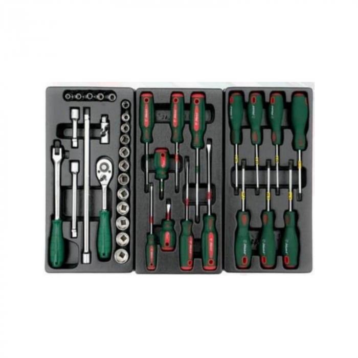 Dulap scule HANS echipat cu 202 piese, rosu/verde 8 sertare [5]