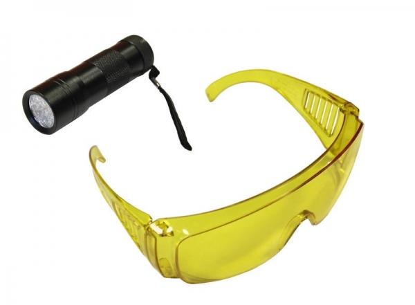 Lampa UV cu ochelari speciali detecte scurgeri agent refrigerant 0