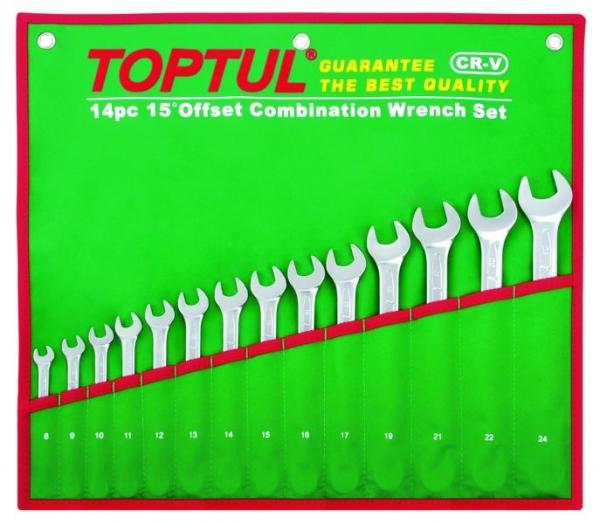 Set 14 chei combinate fixe inelare cotite 8-24mm, Toptul 0