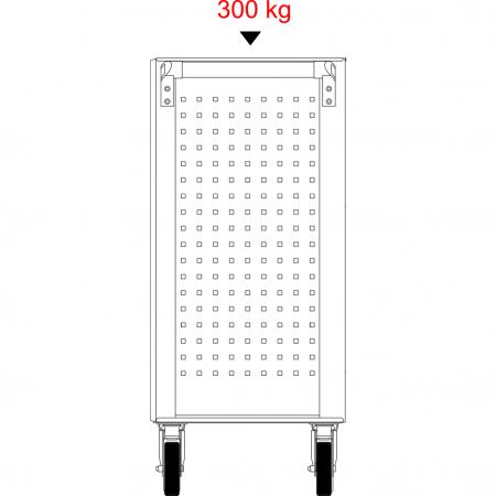 Cărucior de atelier gol ECOline NEGRU/ROȘU cu 7 sertare [18]