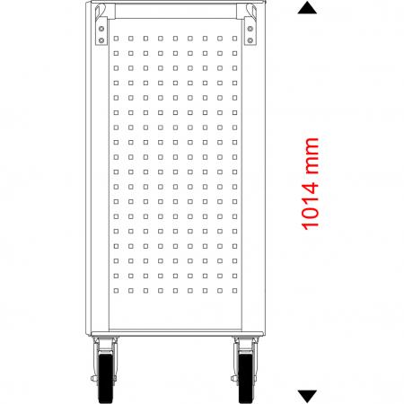 Cărucior de atelier gol ECOline NEGRU/ROȘU cu 7 sertare [15]