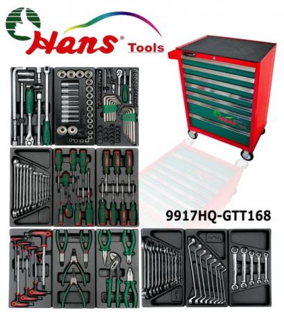 Dulap scule HANS echipat cu 168 piese, rosu/verde 8 sertare [1]
