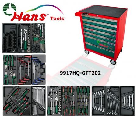 Dulap scule HANS echipat cu 202 piese, rosu/verde 8 sertare [1]