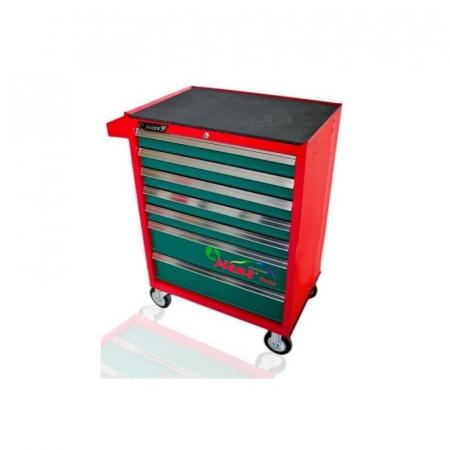 Dulap scule HANS echipat cu 202 piese, rosu/verde 8 sertare [0]