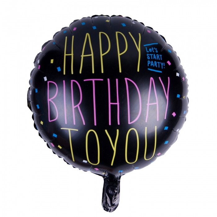 BALON FOLIE HAPPY BIRTHDAY BLACK 45 CM 0