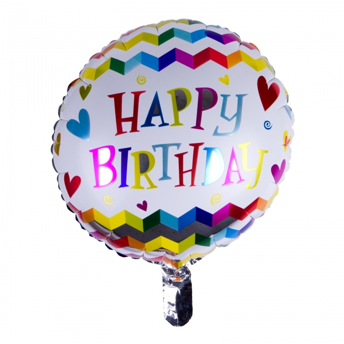 BALON FOLIE HAPPY BIRTHDAY ZIG ZAG 45 CM 0
