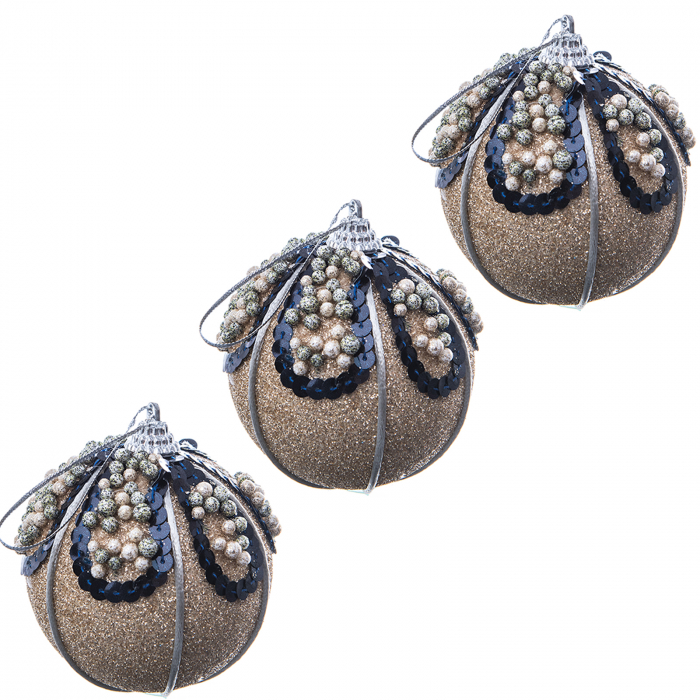 SET 3 GLOBURI FUNKY CHRISTMAS GOLD 0