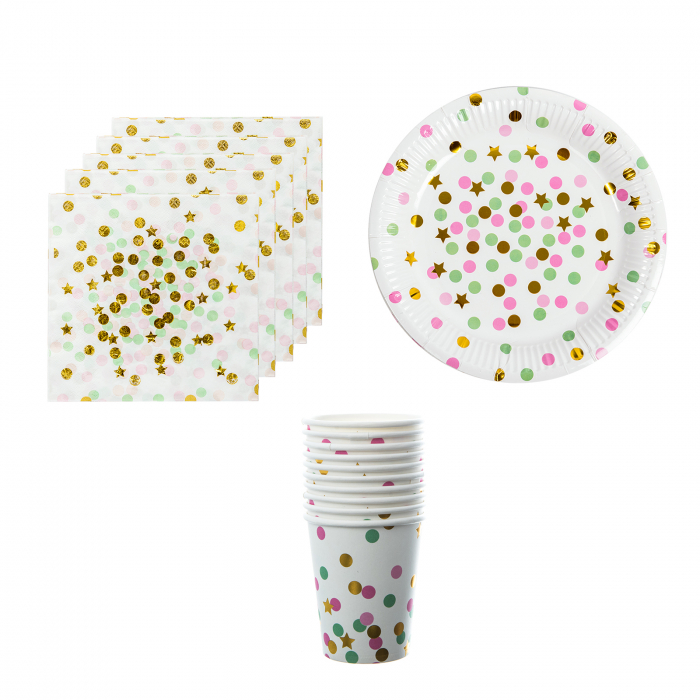 SET ACCESORII PARTY DOTS AND STARS 0