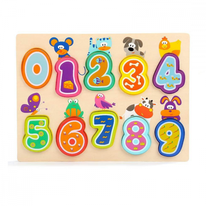 Puzzle din lemn TopBright, cifre si animalute [0]