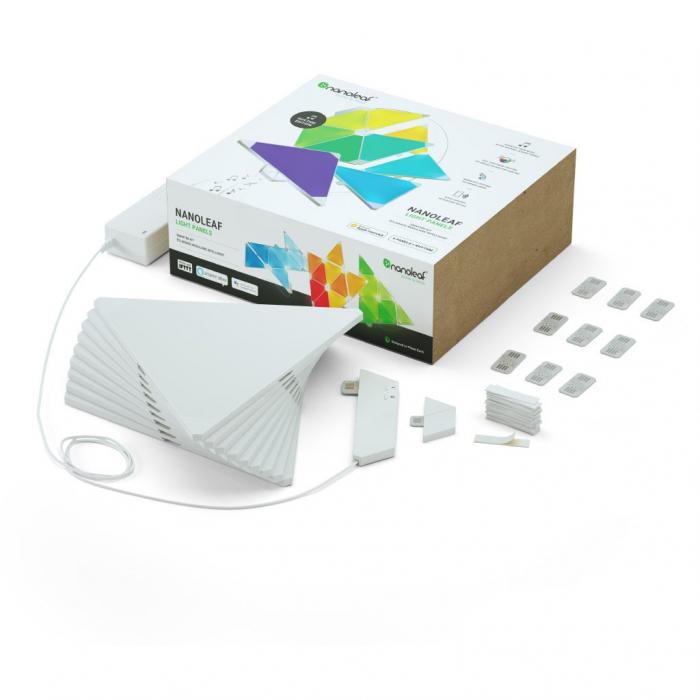 Kit 9 panouri luminoase modulare inteligente, Nanoleaf Aurora Rhythm, LED RGBW, Wi-Fi 1