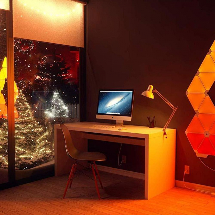 Kit 9 panouri luminoase modulare inteligente, Nanoleaf Aurora Rhythm, LED RGBW, Wi-Fi 3