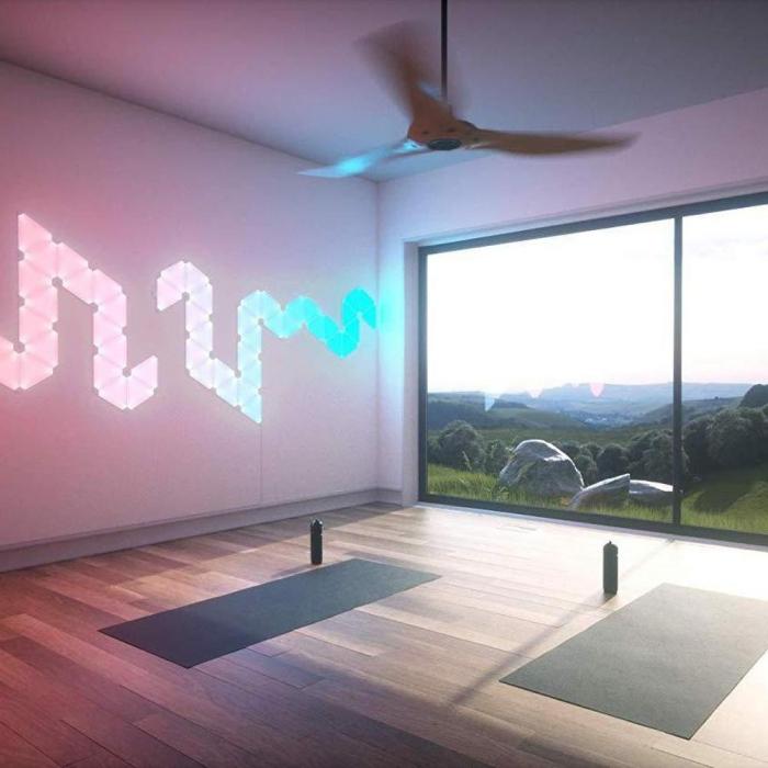 Kit 9 panouri luminoase modulare inteligente, Nanoleaf Aurora Rhythm, LED RGBW, Wi-Fi 8