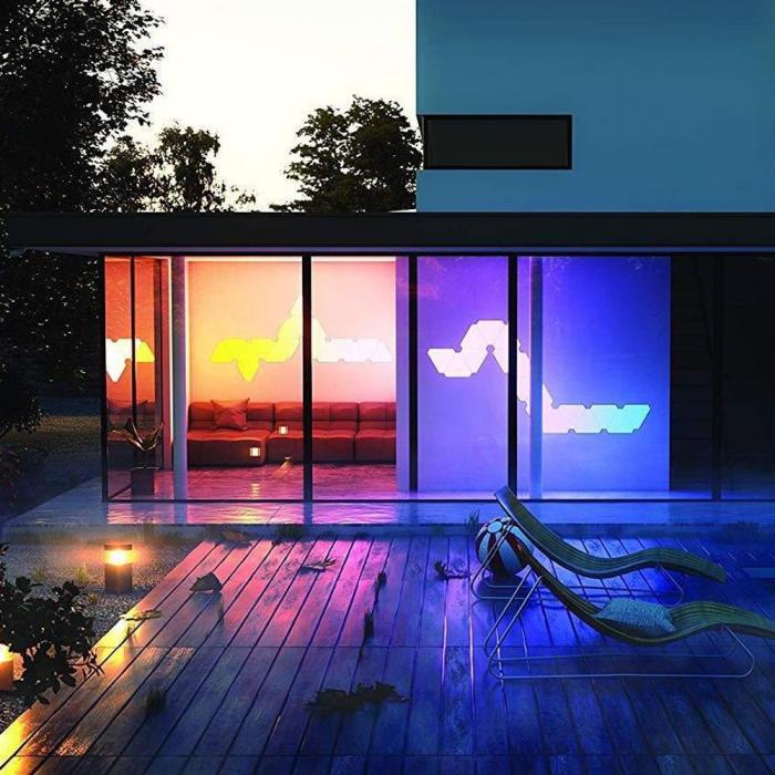 Kit 9 panouri luminoase modulare inteligente, Nanoleaf Aurora Rhythm, LED RGBW, Wi-Fi 6