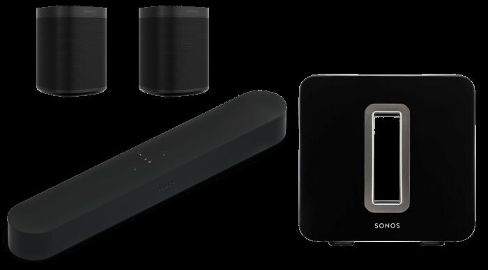 Sonos Beam + 2 x Sonos One SL + Sonos Sub 0