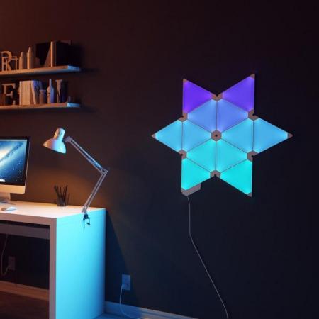 Kit 9 panouri luminoase modulare inteligente, Nanoleaf Aurora Rhythm, LED RGBW, Wi-Fi2