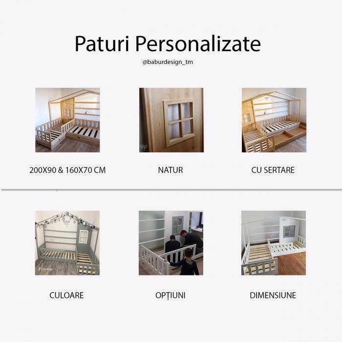 Pat DUBLU tip Casuta, Home, Natur, 200x90 cm si 160x80 cm [5]