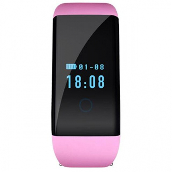 Bratara fitness MoreFIT™ D21, BT 4.0, Pedometru, Puls, Tensiune, Nivel oboseala, Monitorizare somn, Calendar, Notificari apeluri, Stand-by 15 zile, Android, iOS, Notificari, Remote camera, Roz 1
