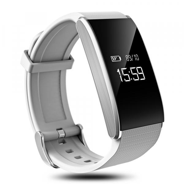 Bratara fitness MoreFIT™ FitGear A58 Pro,  BT 4.0, puls, tensiune, nivel oboseala, stand-by 20 zile, Android, iOS, notificari, remote camera, alb 2
