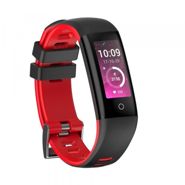 Bratara fitness MoreFIT™ G16, ecran color IPS, IP67, puls dinamic, tensiune, nivel oboseala, monitorizare somn, 5 stiluri display, stand-by 21 zile, Android, iOS, notificari, negru/rosu [0]