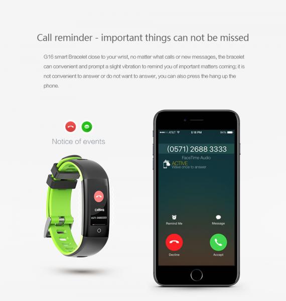 Bratara fitness MoreFIT™ G16, ecran color IPS, IP67, puls dinamic, tensiune, nivel oboseala, monitorizare somn, 5 stiluri display, stand-by 21 zile, Android, iOS, notificari, negru/albastru [1]