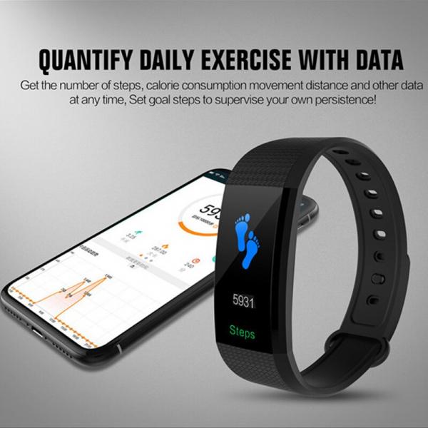 Bratara fitness MoreFIT™ i9,  BT 4.0, Puls, Tensiune, Nivel Oboseala, Pedometru, Calorii, Distanta, Monitorizare Somn, Rezistenta la Apa IP68, Android, iOS, Notificari, Negru [2]