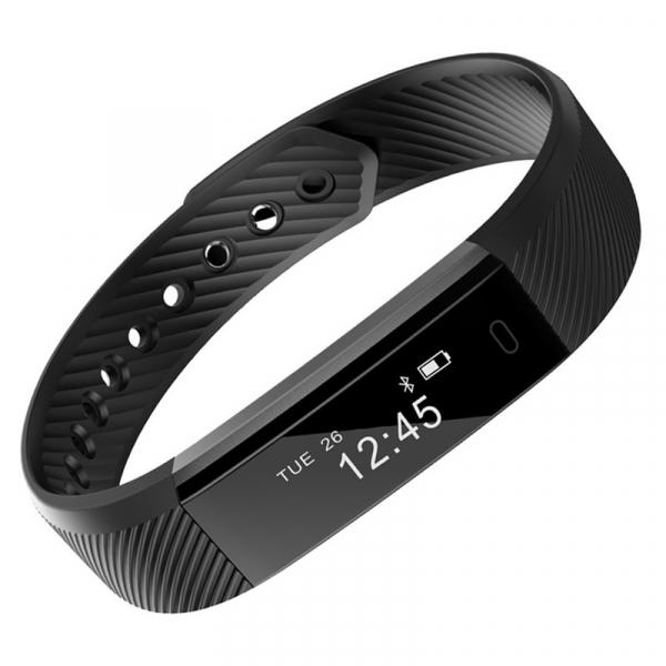 Bratara fitness MoreFIT™ ID115 Pro, BT 4.0, rezistenta la apa IP67, pedometru, remote camera, notificari, Android, iOS, vibratii, negru [0]