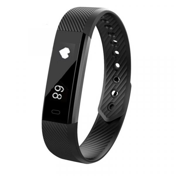 Bratara fitness MoreFIT™ ID115HR Plus, BT 4.0, rezistenta la apa IP67, ritm cardiac, pedometru, remote camera, notificari, Android, iOS, vibratii, negru 0
