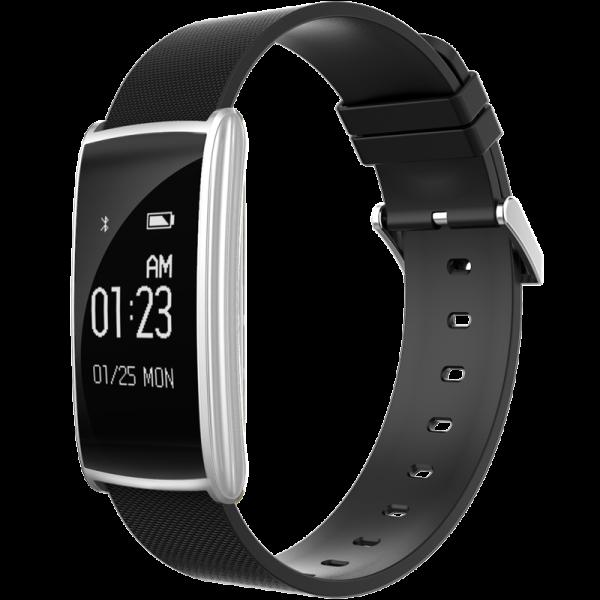 Bratara fitness MoreFIT™ N108 Plus,  BT 4.0, puls, submersibila, tensiune, oxigen, nivel oboseala, anti zgarieturi, Android, iOS, notificari, remote camera, argintiu [0]