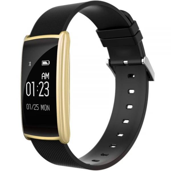 Bratara fitness MoreFIT™ N108 Plus,  BT 4.0, puls, submersibila, tensiune, oxigen, nivel oboseala, anti zgarieturi, Android, iOS, notificari, remote camera, gold 0