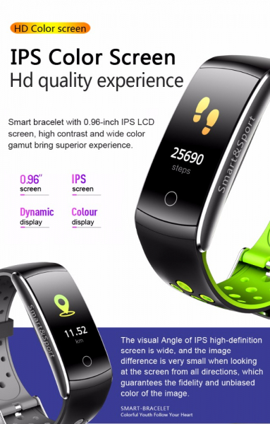 Bratara fitness MoreFIT™ Q8s Pro Color, BT 4.0, heart rate, tensiune, management somn, OLED 0.96 inch, IP68 submersibilia, Negru/Verde 1
