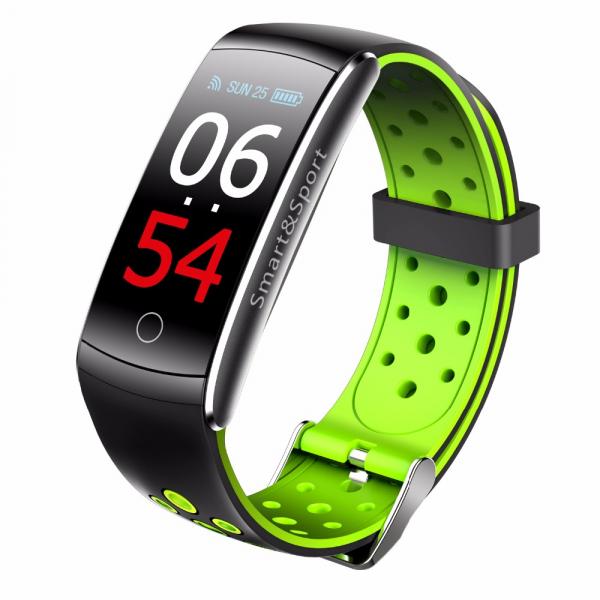 Bratara fitness MoreFIT™ Q8s Pro Color, BT 4.0, heart rate, tensiune, management somn, OLED 0.96 inch, IP68 submersibilia, Negru/Verde 0