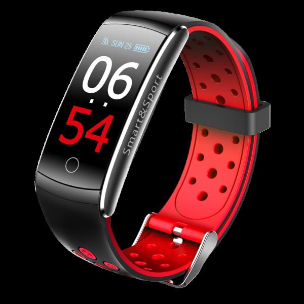 Bratara fitness MoreFIT™ Q8s Pro Color, BT 4.0, heart rate, tensiune, management somn, OLED 0.96 inch, IP68 submersibilia, Rosu 0