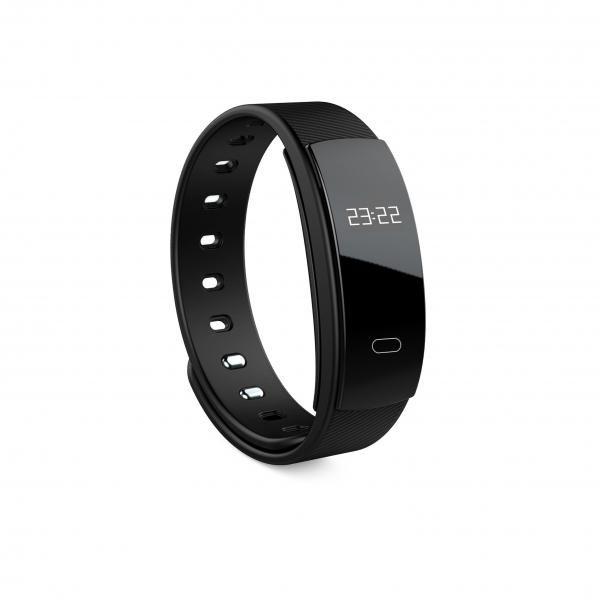 Bratara fitness MoreFIT™  QS80 , BT 4.0, heart rate, tensiune, management somn, OLED 0.96 inch, IP68 submersibilia, Negru [0]