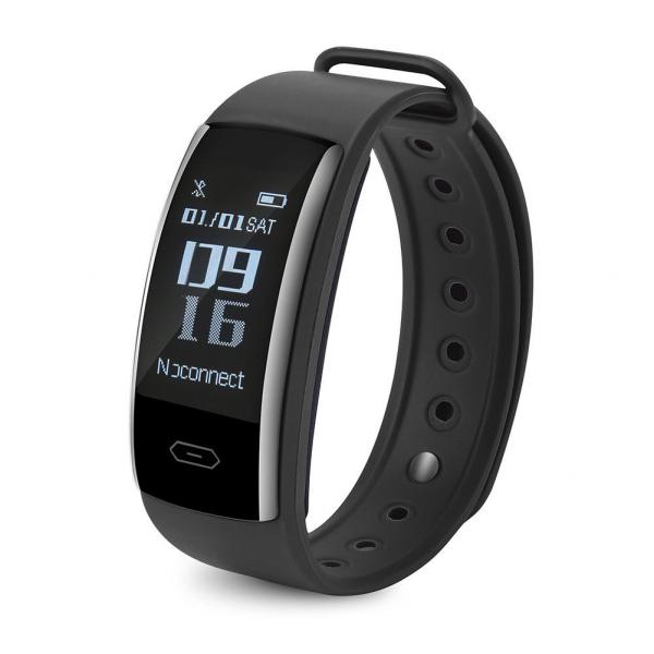 Bratara fitness MoreFIT™ QS90, BT 4.0, heart rate, tensiune, management somn, OLED 0.96 inch, IP68 submersibilia, Negru [0]